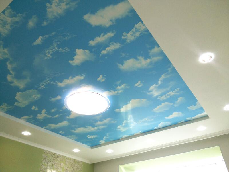 Фото из галереи - натяжной потолок небо с облаками